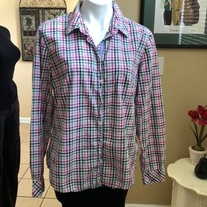H&M LOGG Plaid 16 Blouse Gingham Fitted